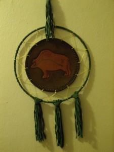 Green Grizzly Bear with fringe  10 in nominal Dia  $125.00